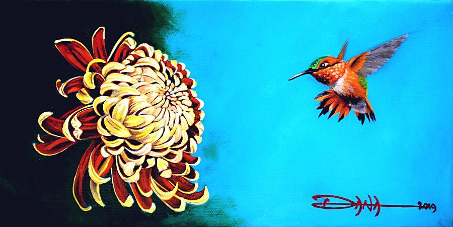 Birds Painting - Allens Hummingbird And Chrysanthemum by Dana Newman