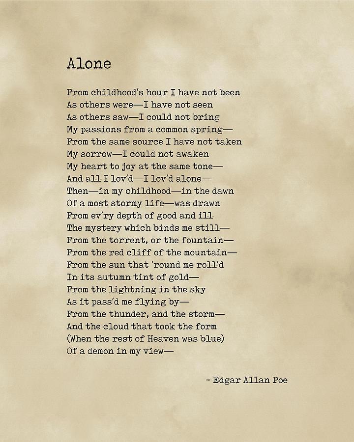 Alone - Edgar Allan Poe - Poem - Literature - Typewriter Print On Old Paper Digital Art