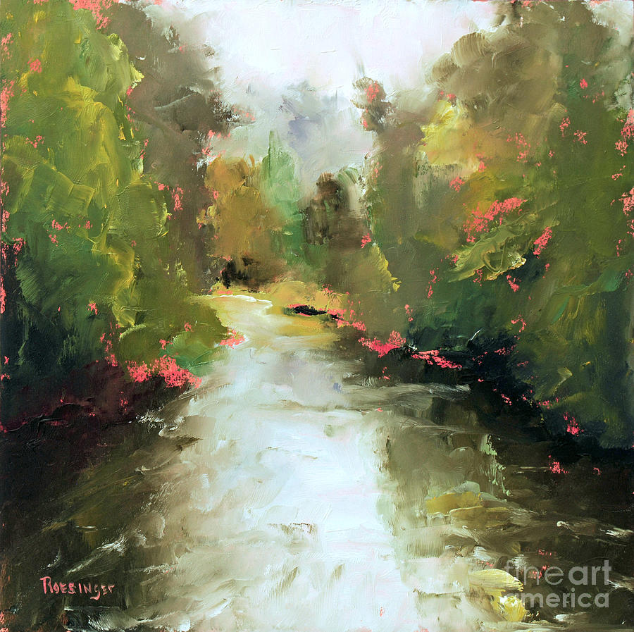 Towpath Painting - Along the Towpath by Paint Box Studio