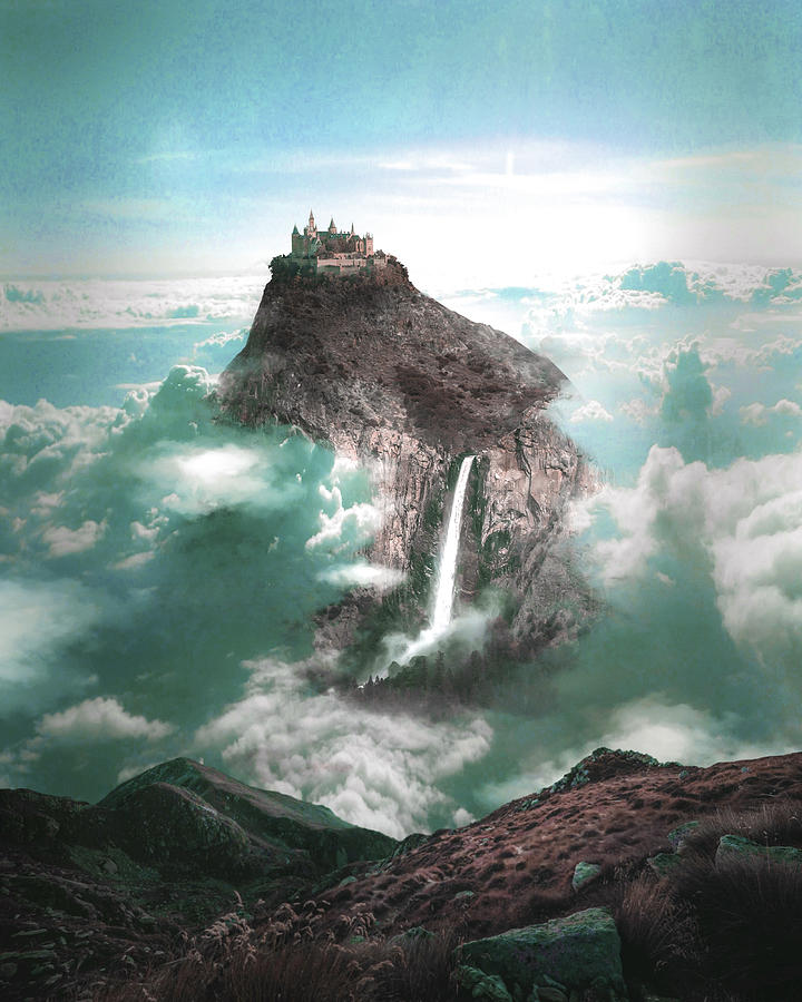 Alpine Castle And Waterfall - Surreal Art By Ahmet Asar Digital Art