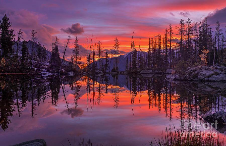 Alpine Lakes Morning Fire Symmetry Photograph