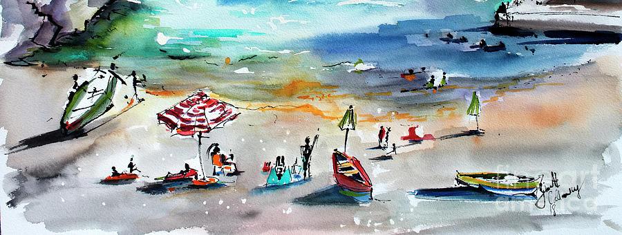 Amalfi Coast Hidden Beach Panorama 1 Painting by Ginette Callaway
