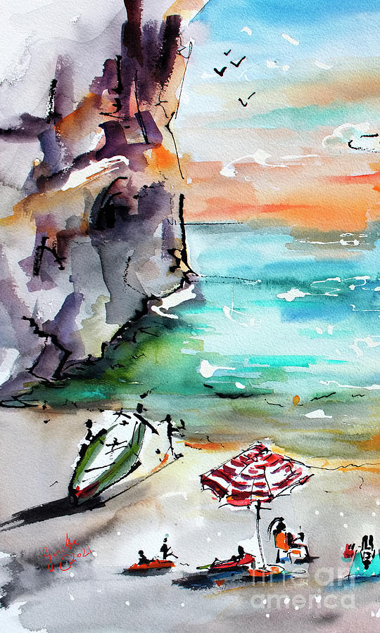 Amalfi Coast Secret Cove Contemporary Italy Painting by Ginette Callaway