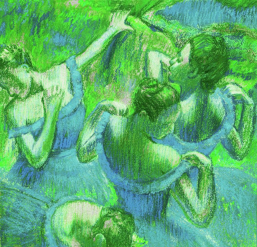 Amazing Ballerinas Degas Study Fantasy In Green Painting