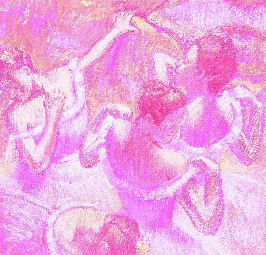 Amazing Ballerinas Degas Study Fantasy In Pink Painting
