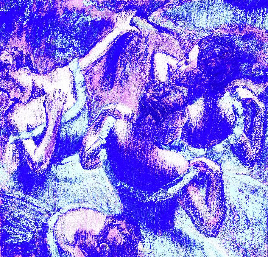 Amazing Ballerinas Degas Study Fantasy In Ultramarine Blue Painting