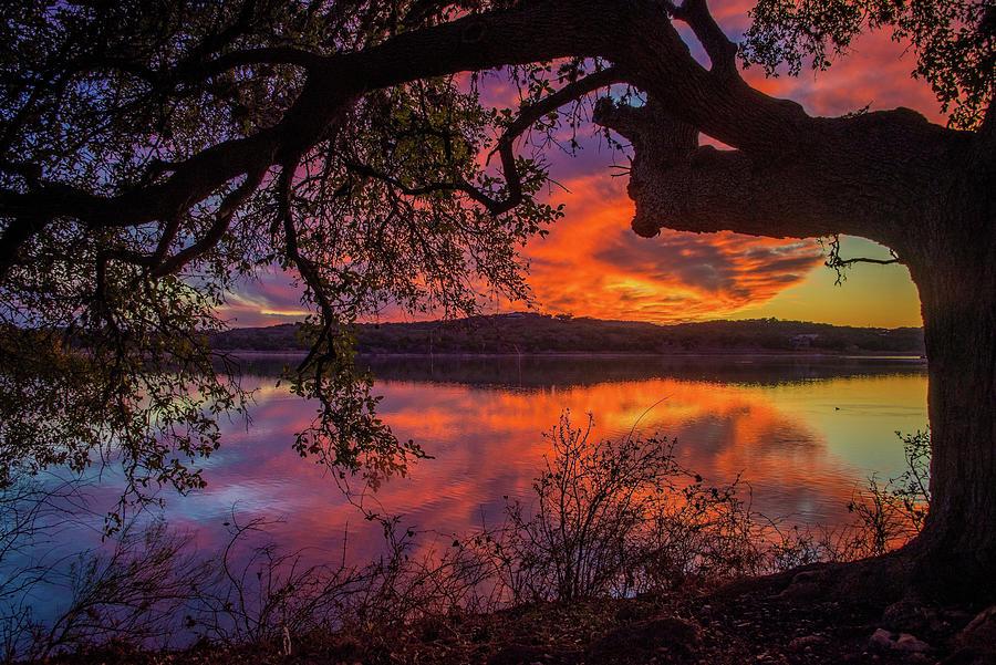 Amazing Oak Sunset at Boerne City Lake by Lynn Bauer