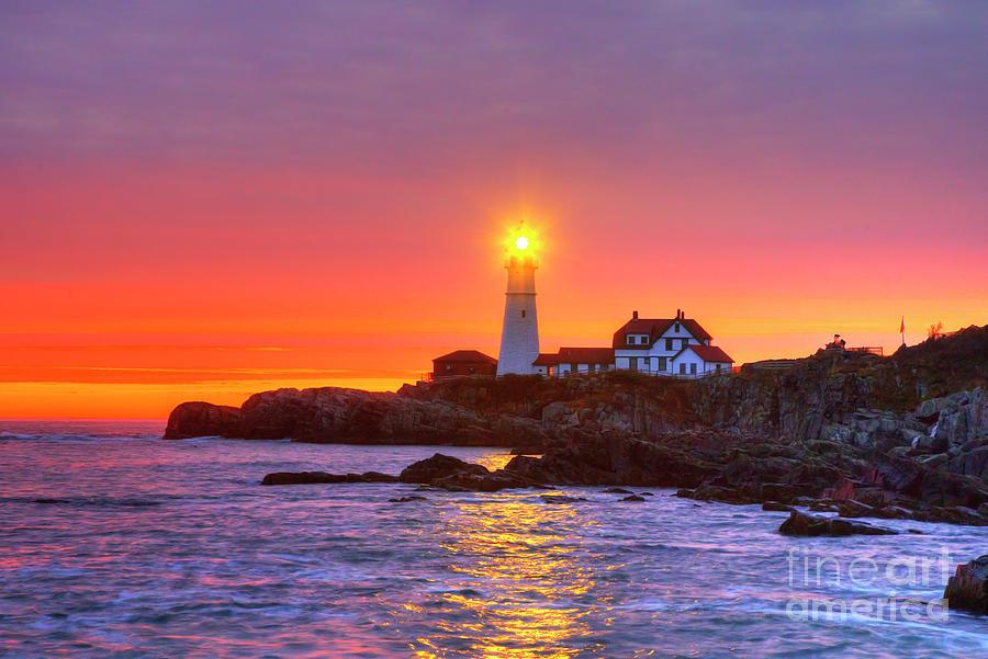 Amazing Sunrise Iconic Portland Head Light by Wayne Moran