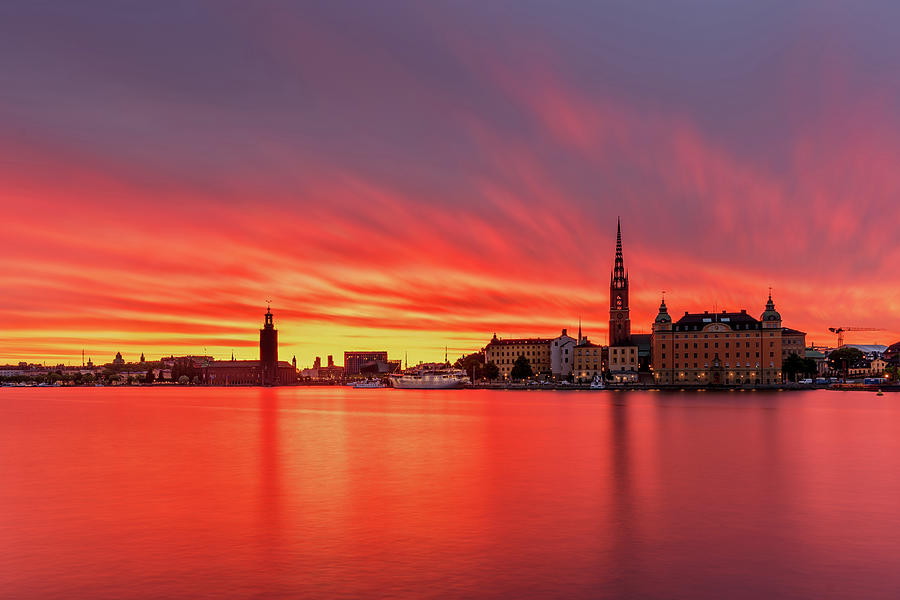 Fiery Photograph - Amazing sunset burn over Stockholm by Dejan Kostic