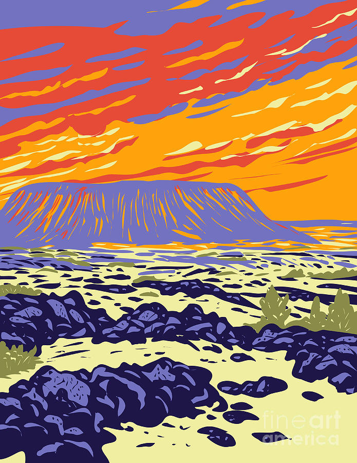 Amboy Crater Extinct Cinder Cone Volcano In Mojave Desert Within Mojave Trails National Monument California Wpa Poster Art Digital Art