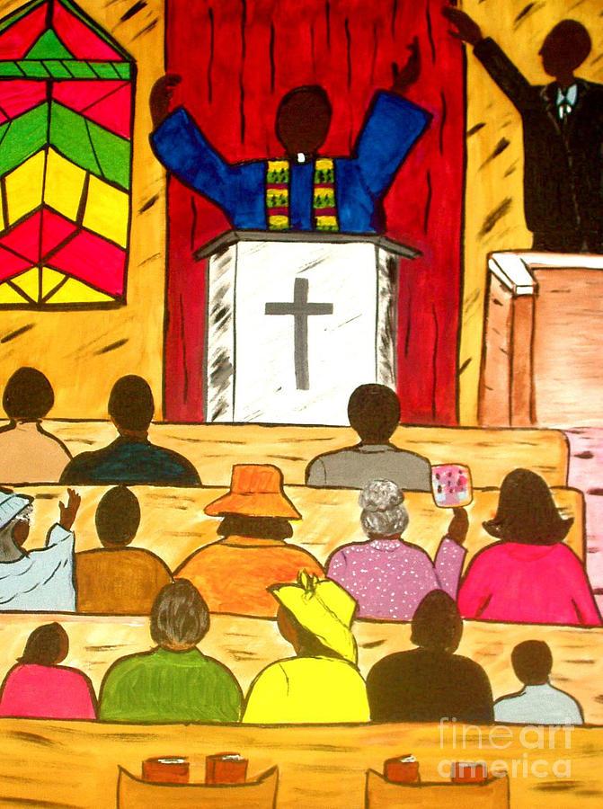 Church Painting - Amen by Sheila J Hall