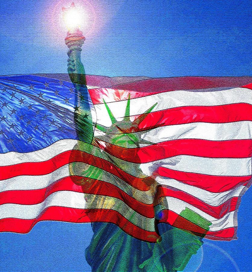America The Light Of Freedom Original Work Mixed Media