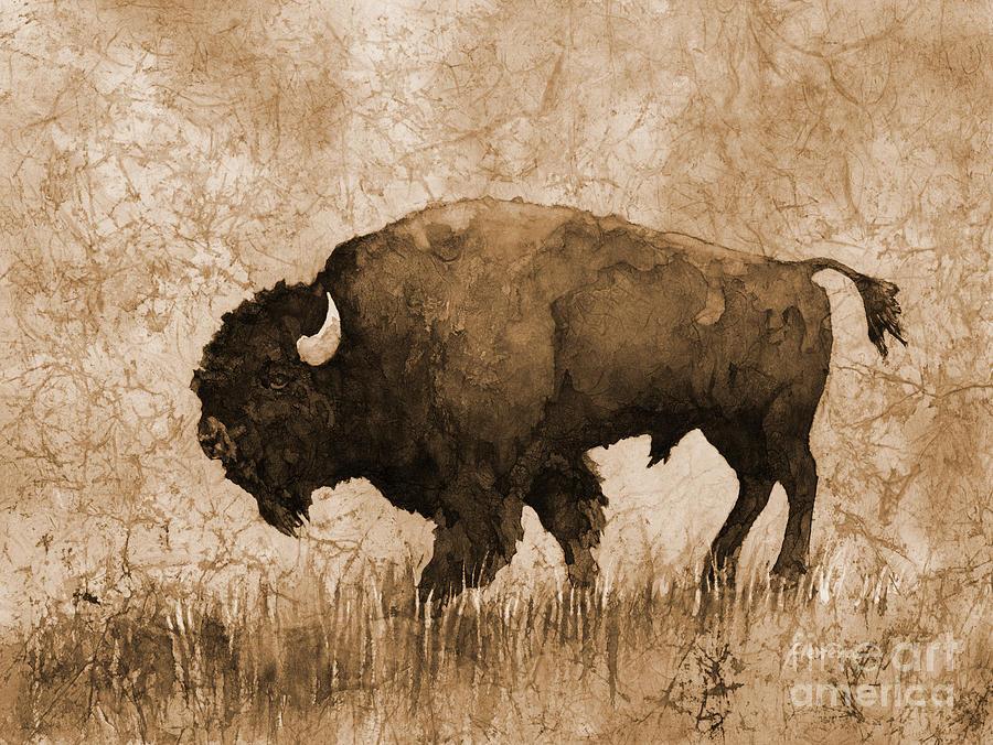 American Buffalo 5 In Sepia Tone Painting