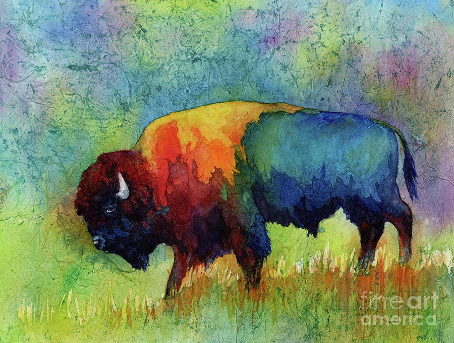 Bison Painting - American Buffalo III by Hailey E Herrera
