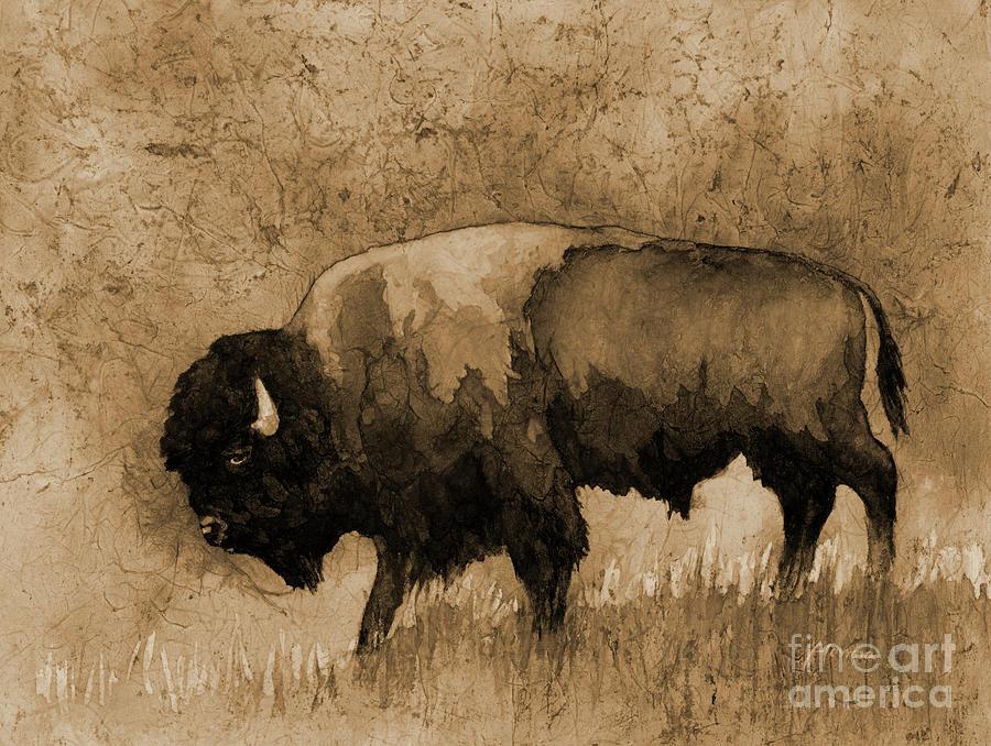 American Buffalo IIi In Sepia Tone Painting