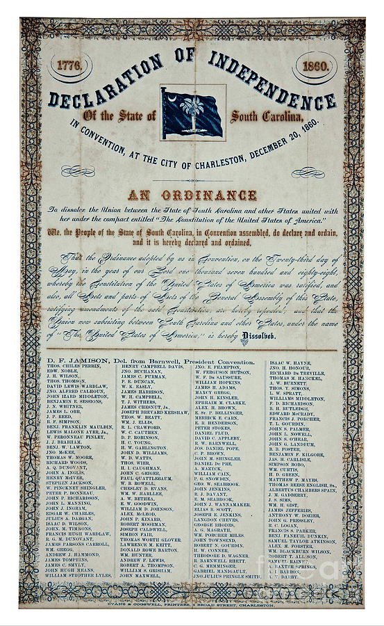 American Civil War South Carolina Declaration Of Secession 1860 Drawing