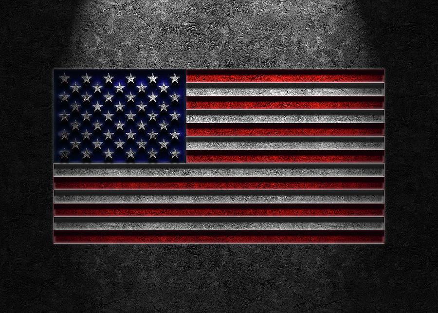 American Flag Stone Texture Repost Photograph
