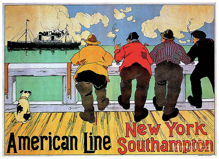 American Line New York Southhampton Travel Poster Painting
