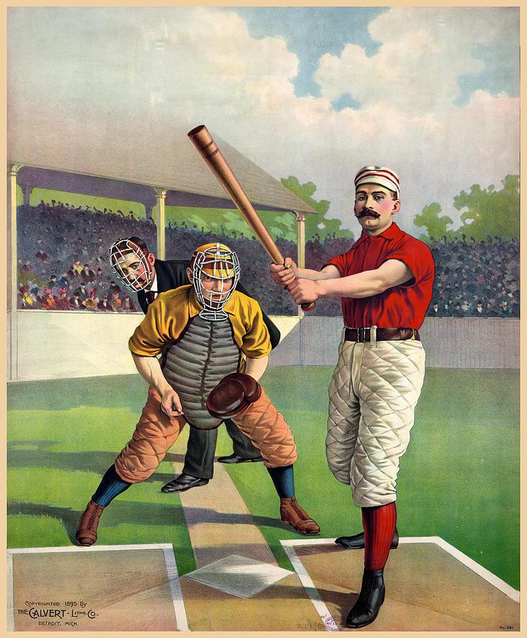 Baseball Mixed Media - American Vintage Baseball Poster - The Calvert Litho Co by Studio Grafiikka