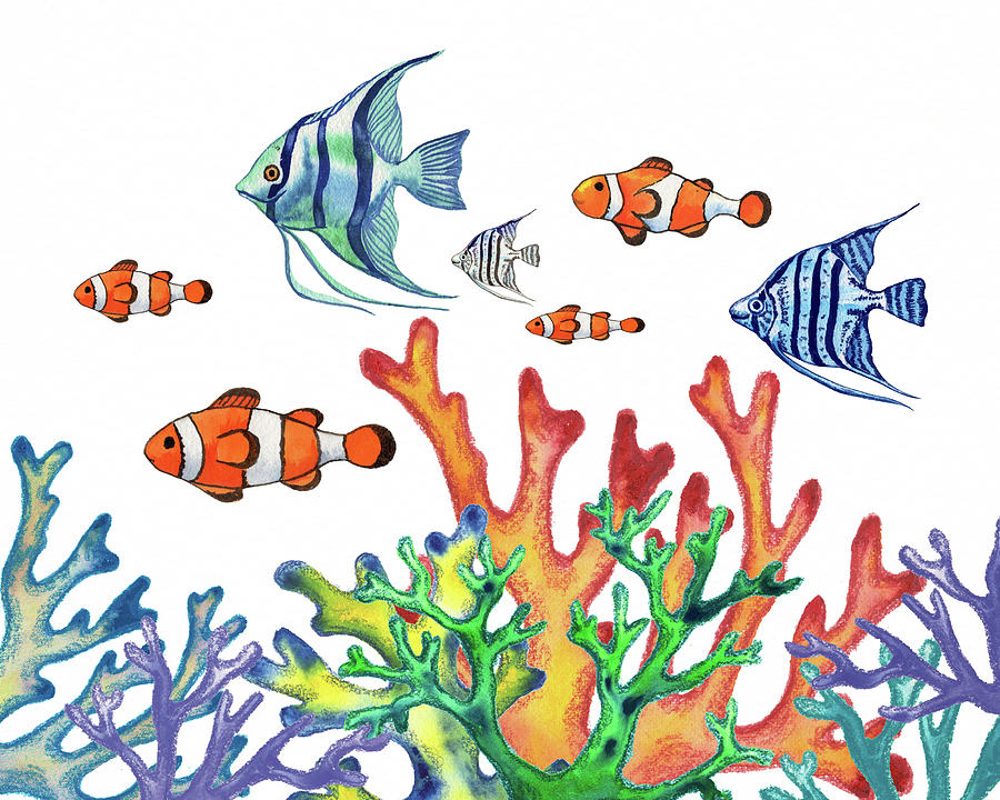 Amphiprioninae And Pterophyllum Coral Reef Watercolor Painting