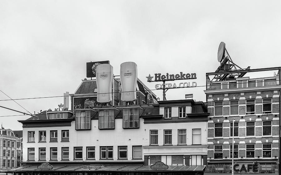 Black And White Photograph - Amsterdam Heineken Brewery by Georgia Fowler