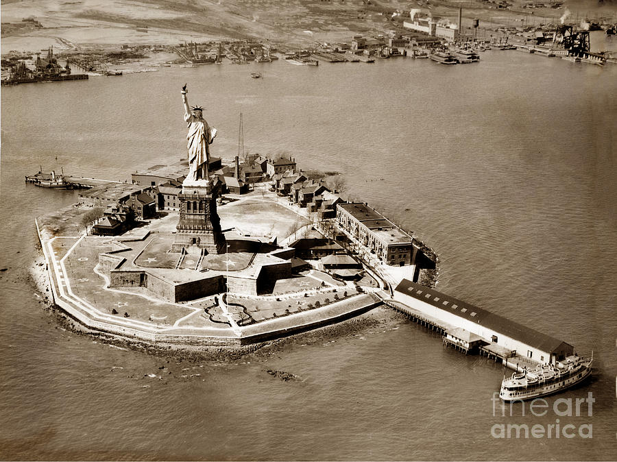 An aerial view looking North of the Statue of Liberty and Bedloe by California Views Archives Mr Pat Hathaway Archives