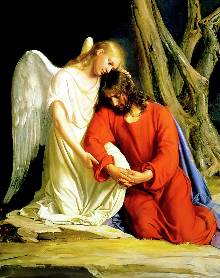 Carl Bloch Painting - An angel comforting Jesus before his arrest in the Garden of Gethsemane by Carl Bloch