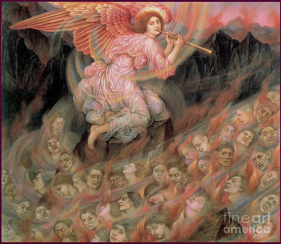 An Angel Piping To The Souls In Hell 1916 Painting