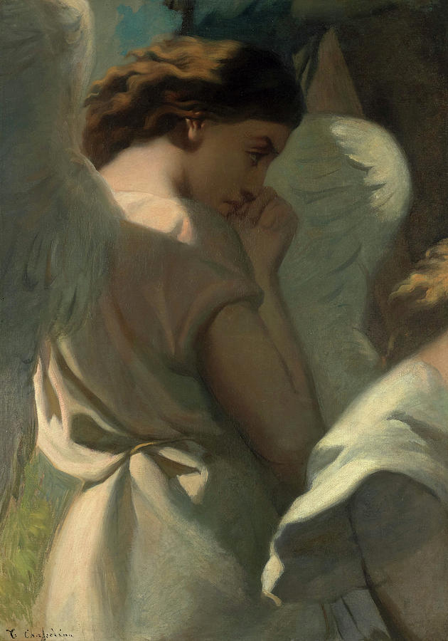Theodore Chasseriau Painting - An Angel Praying in the Garden of Olives by Theodore Chasseriau