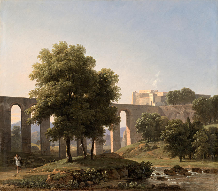 An Aqueduct Near a Fortress by Jean-Victor Bertin