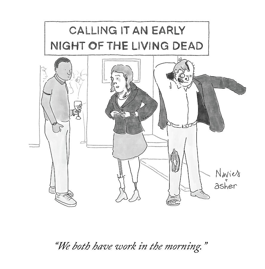 An Early Night Of The Living Dead Drawing by Navied Mahdavian and Asher Perlman