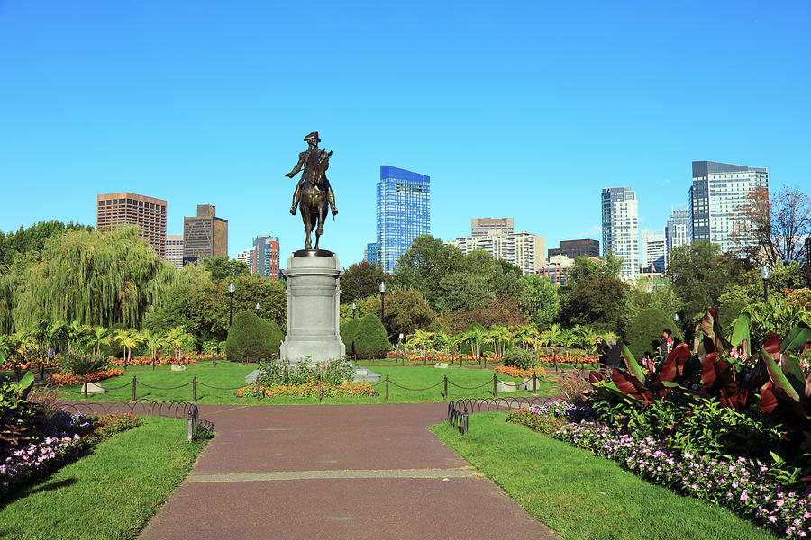 An equestrian statue of George Washington in Bostons Public Garden with coloured flower beds Photograph by Rainer Grosskopf