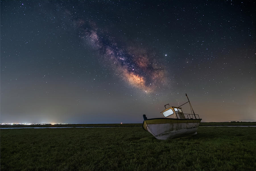 An Old Boat Under The Milkyway Photograph
