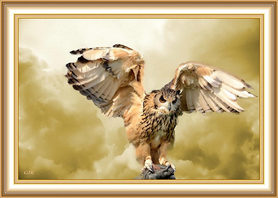 An Owl Landing With Cloud Background L A S - With Printed Frame. Digital Art