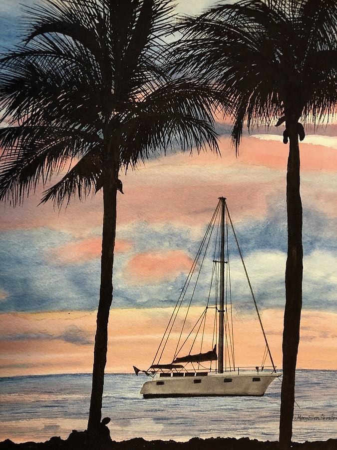 Oceans Painting - Anchored by Mary Ellen Gerster