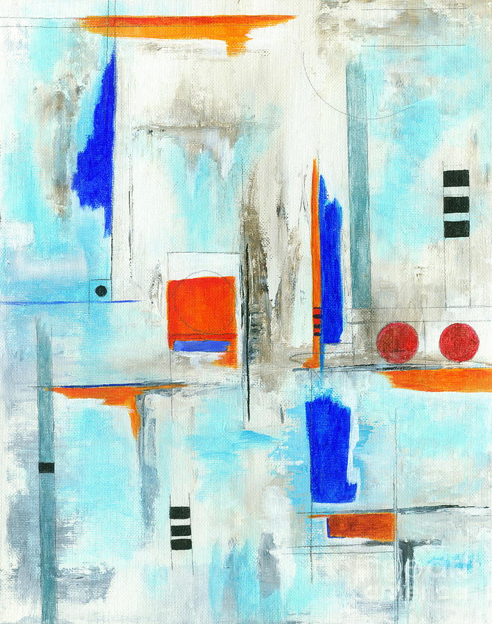 Anchors Away Painting - Anchors Away Abstract Nautical Artwork by Itaya Lightbourne