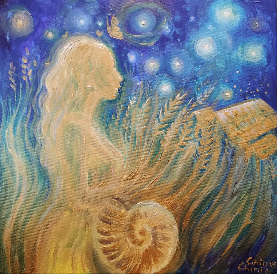Goddess Painting - Ancient agricultural goddess of fertility by Chirila Corina
