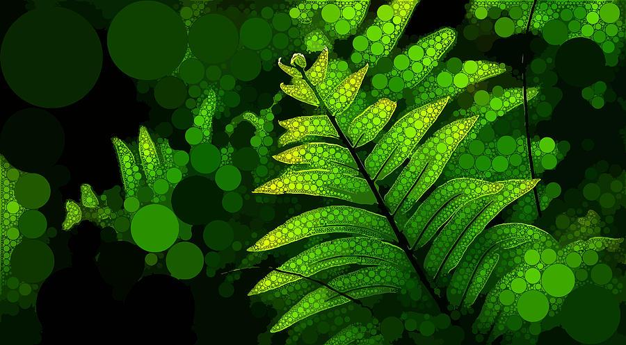 Green Digital Art - Ancient Fern by Dahl Winters
