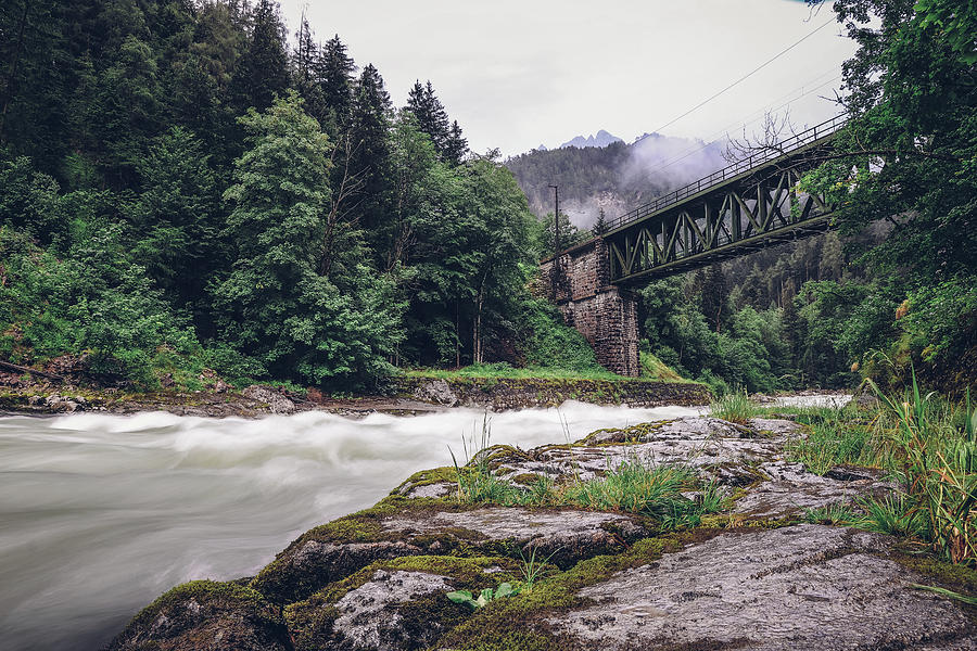 Ancient Green Railway Bridge Photograph