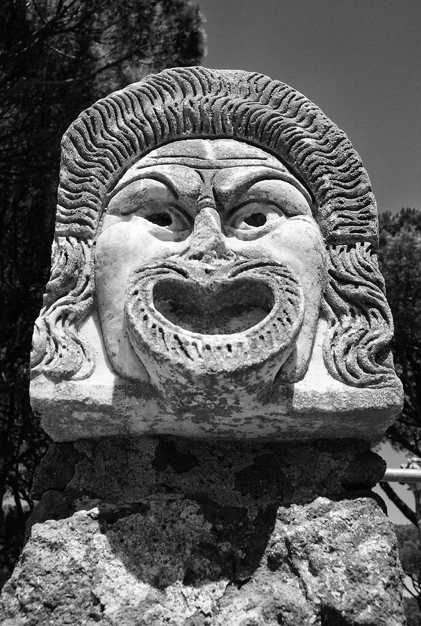 Ancient Marble Mask of the Arts Theater Ruins at Ostia Antica Black and White by Shawn O'Brien