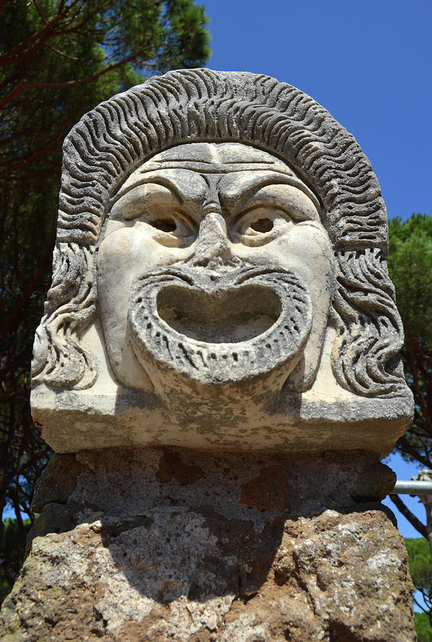 Ancient Marble Mask of the Arts Theater Ruins at Ostia Antica by Shawn O'Brien