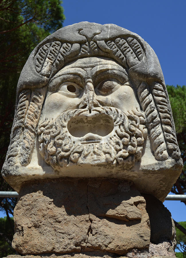 Ancient Marble Mask of the Arts Theater Ruins Ostia Antica by Shawn O'Brien
