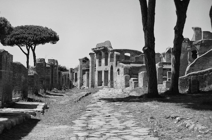 Ancient Neighborhood Road Ostia Antica Ruins near Rome Italy Black and White by Shawn O'Brien