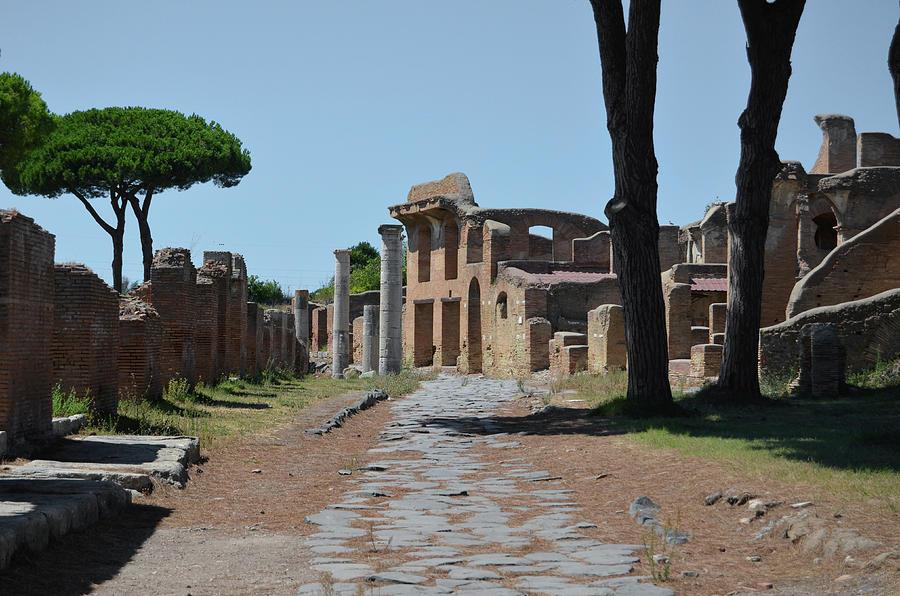 Ancient Neighborhood Road Ostia Antica Ruins near Rome Italy by Shawn O'Brien