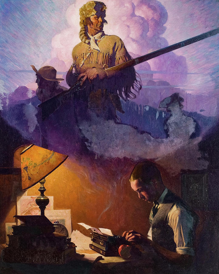 Norman Rockwell Painting - And Daniel Boone Comes to Life on the Underwood Portable, 1923 by Norman Rockwell