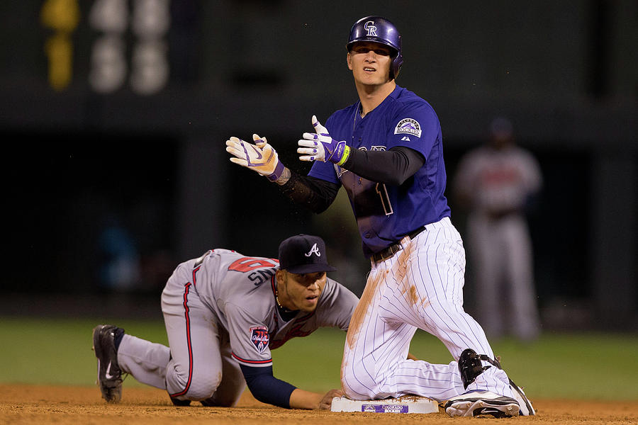 Andrelton Simmons and Brandon Barnes Photograph by Justin Edmonds