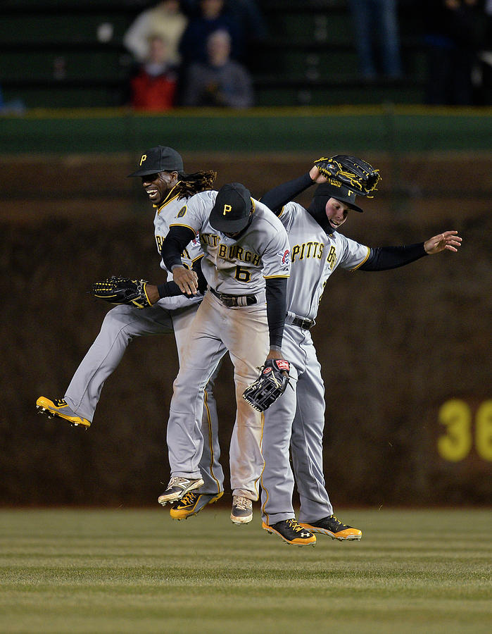 Andrew Mccutchen, Starling Marte, and Travis Snider Photograph by Brian Kersey