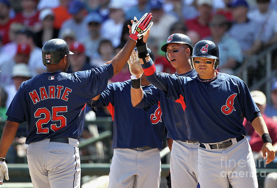 Andy Marte, Michael Brantley, and Shin-soo Choo Photograph by Christian Petersen