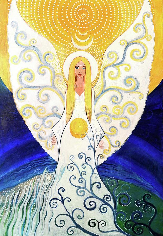 Mandala Painting - Angel by Agnieszka Szalabska