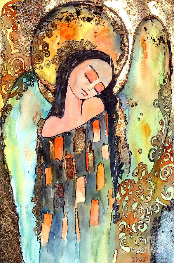 Angel Painting - Angel Goes To Sleep by Suzann Sines